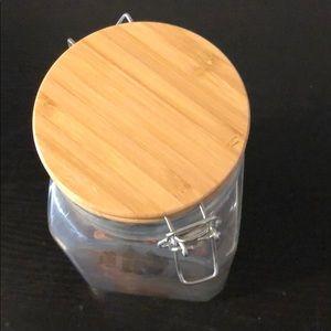 Hermetic glass storage jars Glassware WoodenLids